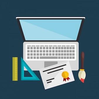 Laptop-computer mit einfachen lernsymbolen