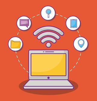 Laptop-computer mit in verbindung stehenden ikonen des onlinemarketings