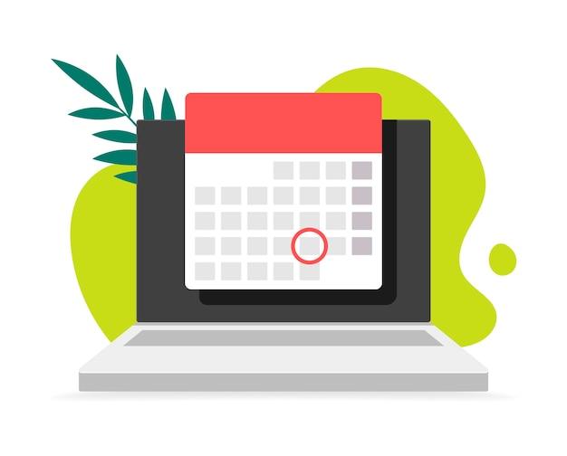 Laptop-computer mit kalender, auf hintergrund kritzeln und verlässt. abbildungen. online-planer-app auf laptop-anzeige mit ereignisdatum erinnerung vorderansicht.
