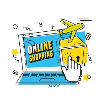 Laptop-Computer mit Online-Shopping-Konzept