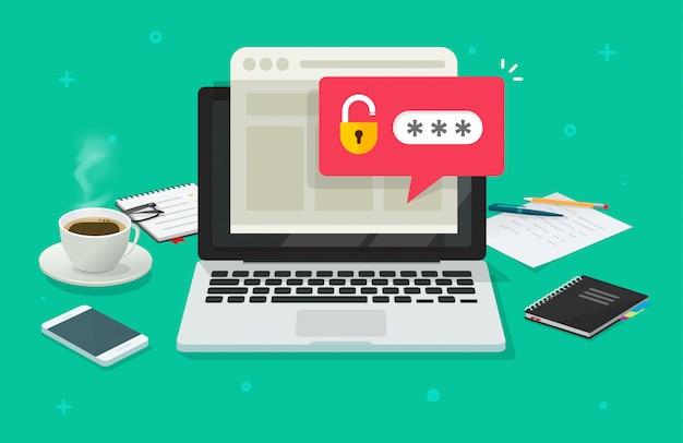 Laptop-computer mit passwortbenachrichtigung und schlosssymbol flacher cartoon