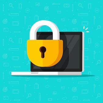 Laptop-computer-sicherheitsschloss oder firewall-schutz-symbol