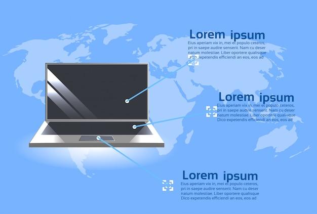 Laptop-computer über weltkarten-hintergrund-moderner technologie infographics-schablonen-fahne