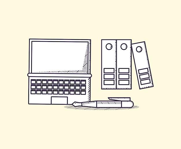 Laptop-computer und dokumentenmappen