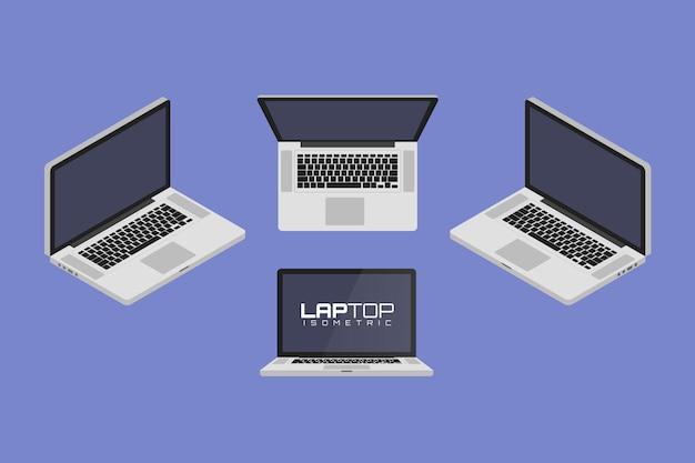 Laptop-computer von vier seiten icon set vektorgrafik illustration. isometrische ansicht von vorne, hinten, rechts, links und oben.