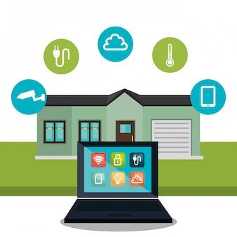 Laptop, der smarthome technologie steuert