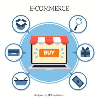 Laptop, e-commerce und shopping-icons