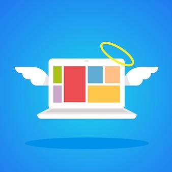 Laptop-engel mit flügeln und einem heiligenschein