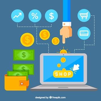 Laptop, geld und einkaufen mit flachem design