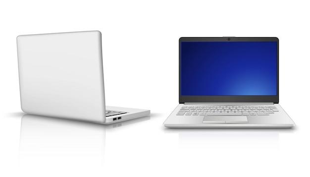 Laptop in seiten- und vorderansicht. auf weißem hintergrund isoliert.