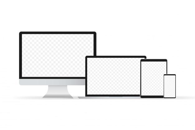 Laptop isoliert vektor. gadget abbildung vektor. moderner computer, laptop, smartphone