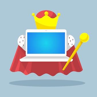 Laptop kaiser mit einem zepter und einer krone