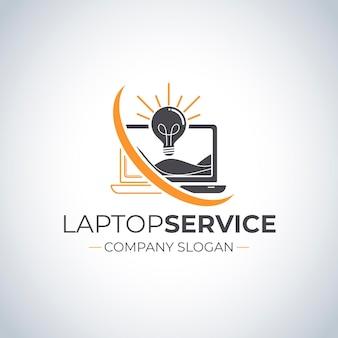 Laptop-logo-vorlage im flachen design logo