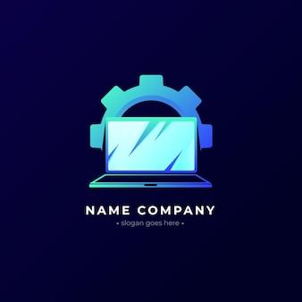 Laptop-logo-vorlage mit farbverlauf