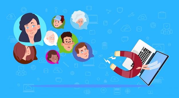Laptop magnet mix race chat blasen unterstützen die virtuelle unterstützung der website oder mobile anwendungen ziehen konzept
