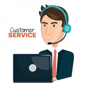 Laptop-mann-kundendienst-call-center-design
