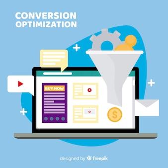 Laptop-marketing-optimierungshintergrund