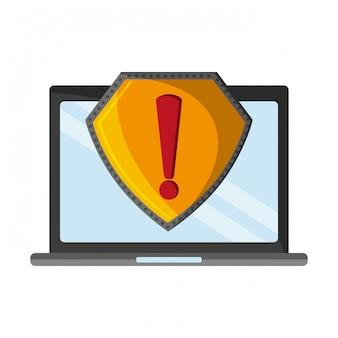 Laptop mit aufmerksamkeitszeichen