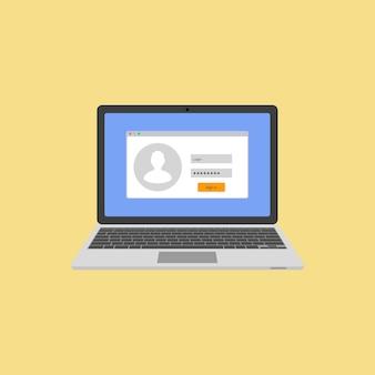 Laptop mit autorisierung auf dem bildschirm. login und passwort des benutzers. melden sie sich beim system oder konto an. illustration