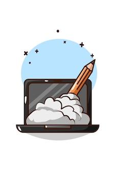 Laptop mit bleistift und rauchkarikaturillustration