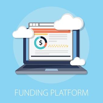 Laptop mit cloud-finanzierungsplattform