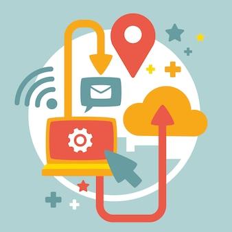 Laptop mit cloud und e-mail