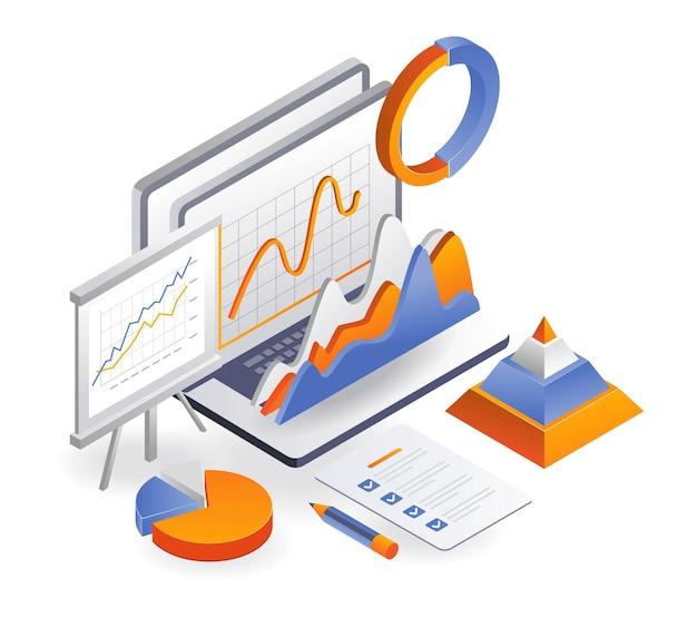 Laptop mit datenanalyse und businessplan