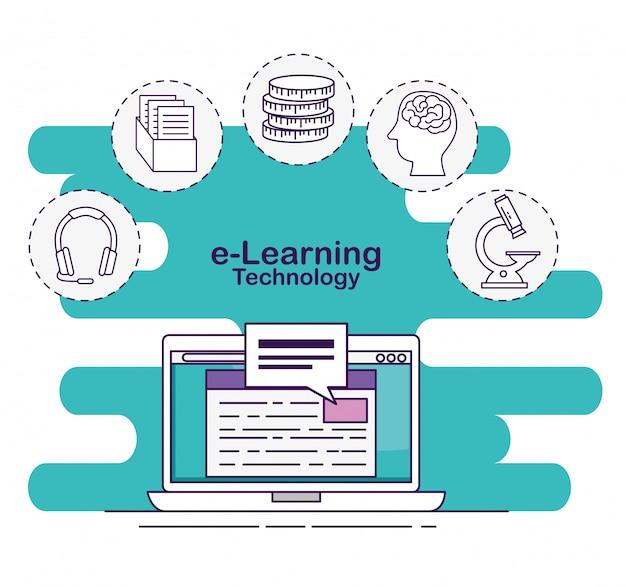 Laptop mit digitaler dokumenten- und chatblase