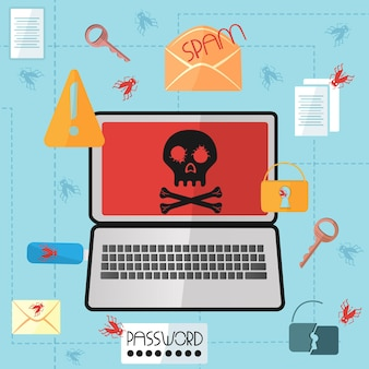 Laptop mit einem totenkopf auf dem bildschirm in einem flachen stilder internetvirus infizierte den computer. hacker-angriff