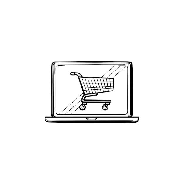 Laptop mit einkaufswagen auf dem bildschirm handgezeichnete umriss-doodle-symbol. e-commerce, online-shopping, einkaufskonzept