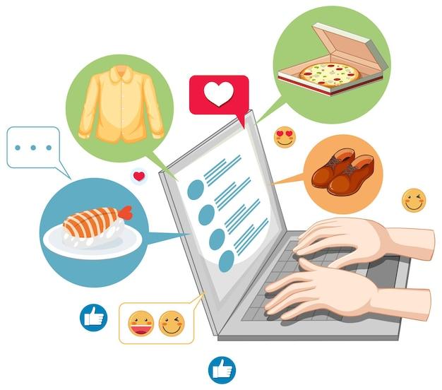 Laptop mit emoji-symbol-karikaturstil der sozialen medien lokalisiert auf weißem hintergrund