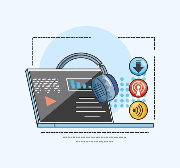 Laptop mit gerät des digitalen audiostudios