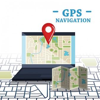 Laptop mit gps-navigationssoftware