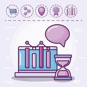 Laptop mit infografik und icons