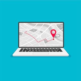 Laptop mit kartennavigation auf einem bildschirm gps-navigator mit rotem pinpoint stadtplan mit punktmarkierungen