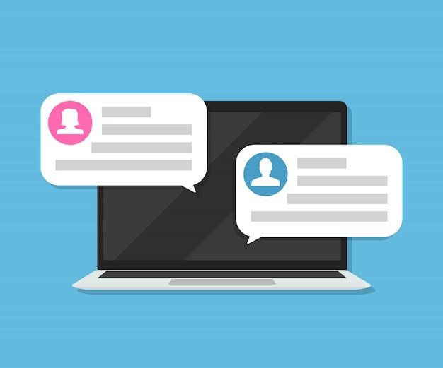Laptop mit kundenbewertung benachrichtigungen mit bewertungen in einer wohnung