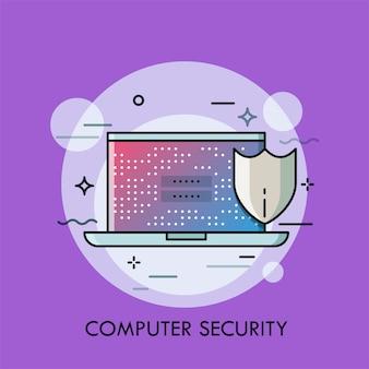 Laptop mit login und passwort auf dem bildschirm und schildsymbol.