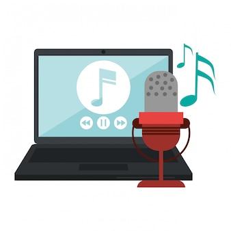Laptop mit musikspieler