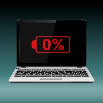Laptop mit niedrigem batteriestand auf dem bildschirm