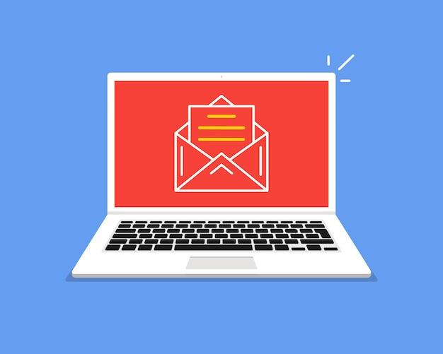 Laptop mit offener e-mail auf dem bildschirm.