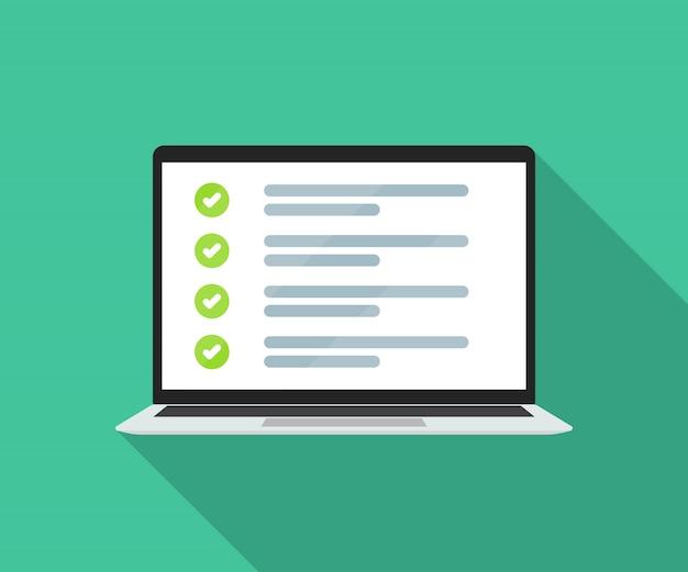 Laptop mit online-checkliste in einer wohnung.
