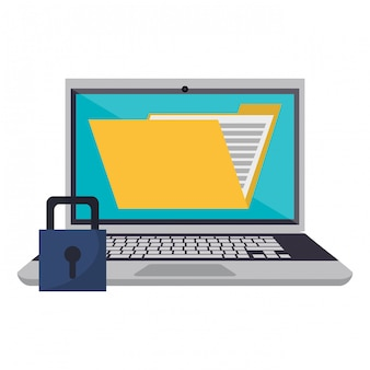 Laptop mit ordner und vorhängeschloss