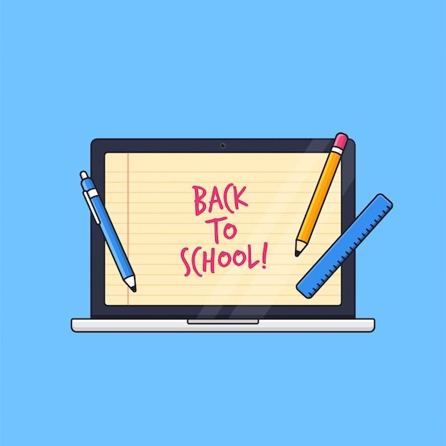 Laptop mit papierlinienbildschirmhintergrund und schülerwerkzeugillustration für fernunterrichtskonzept der online-klasse zurück zur schule
