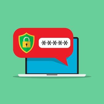 Laptop mit passwortbenachrichtigung und schlosssymbol