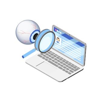 Laptop mit persönlichen daten, die isometrisches konzept auf weiß beobachtet werden