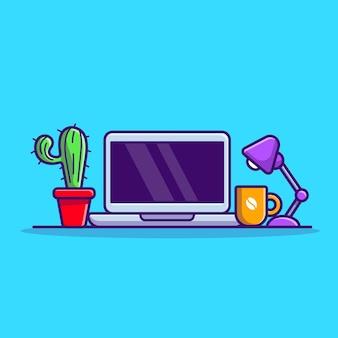 Laptop mit pflanzen- und lampenkarikatur-vektor-symbol-illustration. technologie-objekt-symbol-konzept isoliert premium-vektor. flacher cartoon-stil