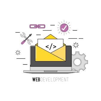 Laptop mit programmcode-softwaredaten