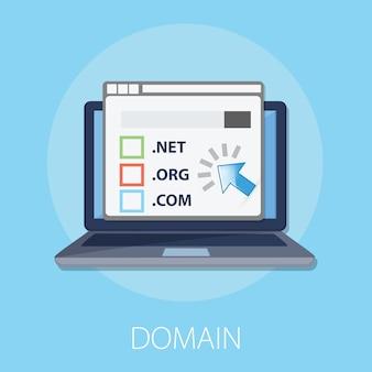 Laptop mit registrierungs- und domainnamenkonzept