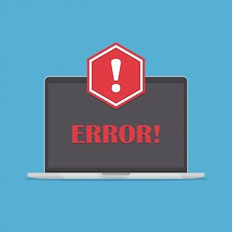 Laptop mit roter warnmeldung