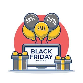 Laptop mit schwarzem freitag auf dem bildschirm und geschenkbox-karikaturillustration